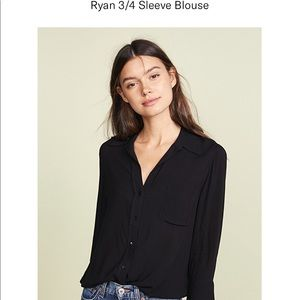 NWT L'agence Charcoal Silk Blouse